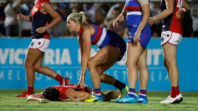 Katie Brennan's tackle on Harriet Cordner that saw her suspended.