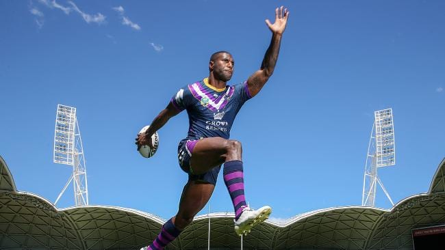 Storm winger Suliasi Vunivalu who will play his 50th game in the NRL this week.