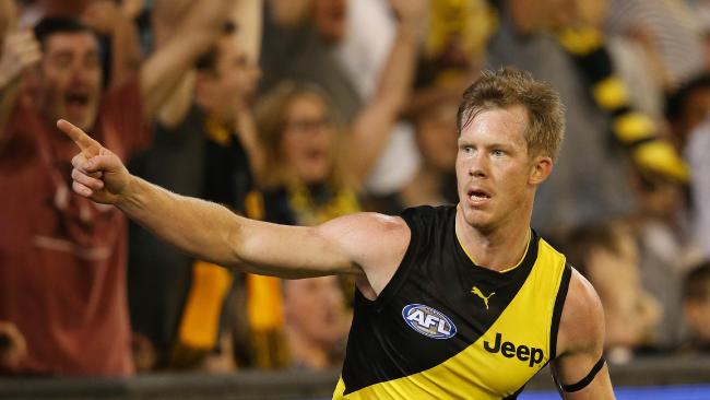 Jack Riewoldt celebrates a goal for the Tigers. Picture: Michael Klein