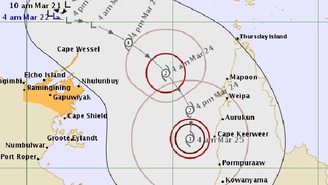 The likely track over the coming days of a tropical low that could power up into a cyclone over the Gulf of Carpentaria. Picture: Bureau of Meteorology