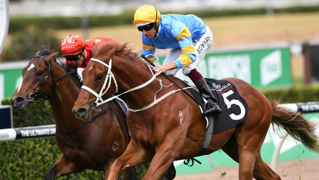 Performer ridden by Hugh Bowman wins the Arrowfield Breeders Plate race during the TAB Epsom Day at Randwick Racecourse in Sydney, Saturday, September 30, 2017. (AAP Image/David Moir) NO ARCHIVING, EDITORIAL USE ONLY