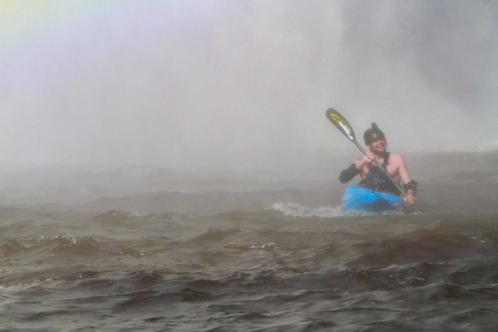 Kayaker Lachie Carracher takes on the 30 metre tall Dangar Falls.
