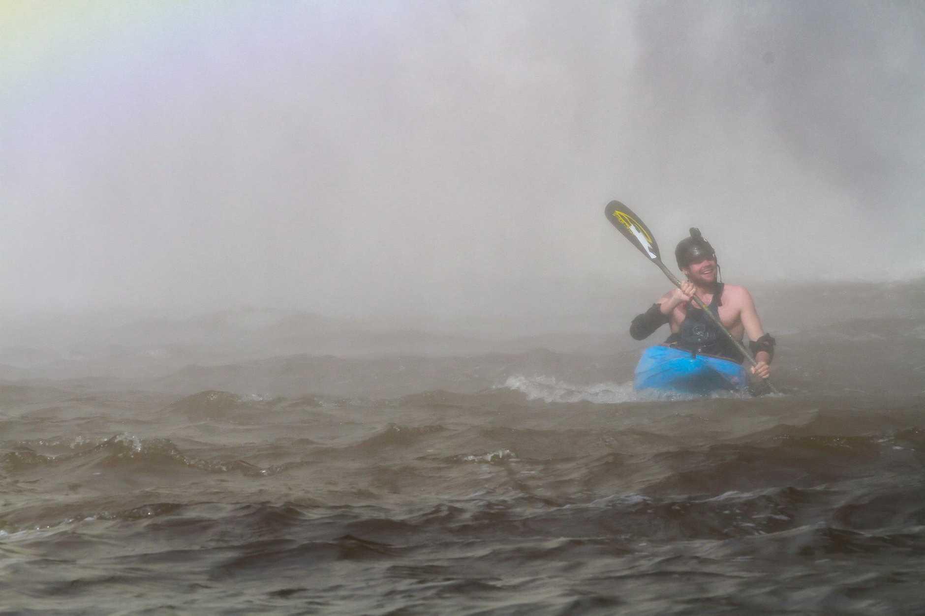 Kayaker Lachie Carracher takes on the 30 metre tall Dangar Falls.