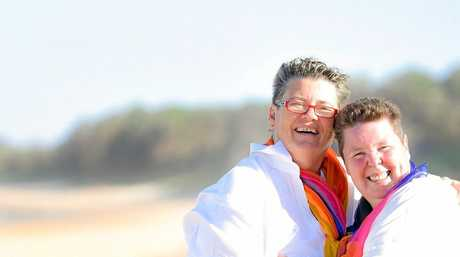 Joanne and Jackie tie the knot on Sawtell Beach.