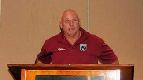 Peter White speaks at the Browne Park Stadium meeting.