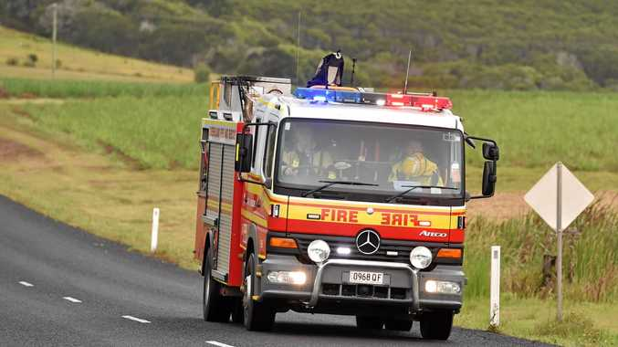 CRASH: Emergency services rush to the scene of a single-vehicle crash.