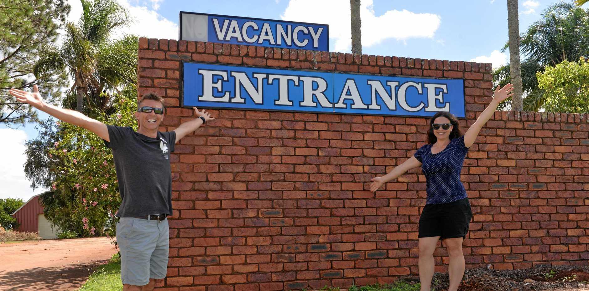 A HUB OF ACTIVITY: Childers Gateway Motor Inn's Geoff Bassett and Nicole Skjaerbaek.