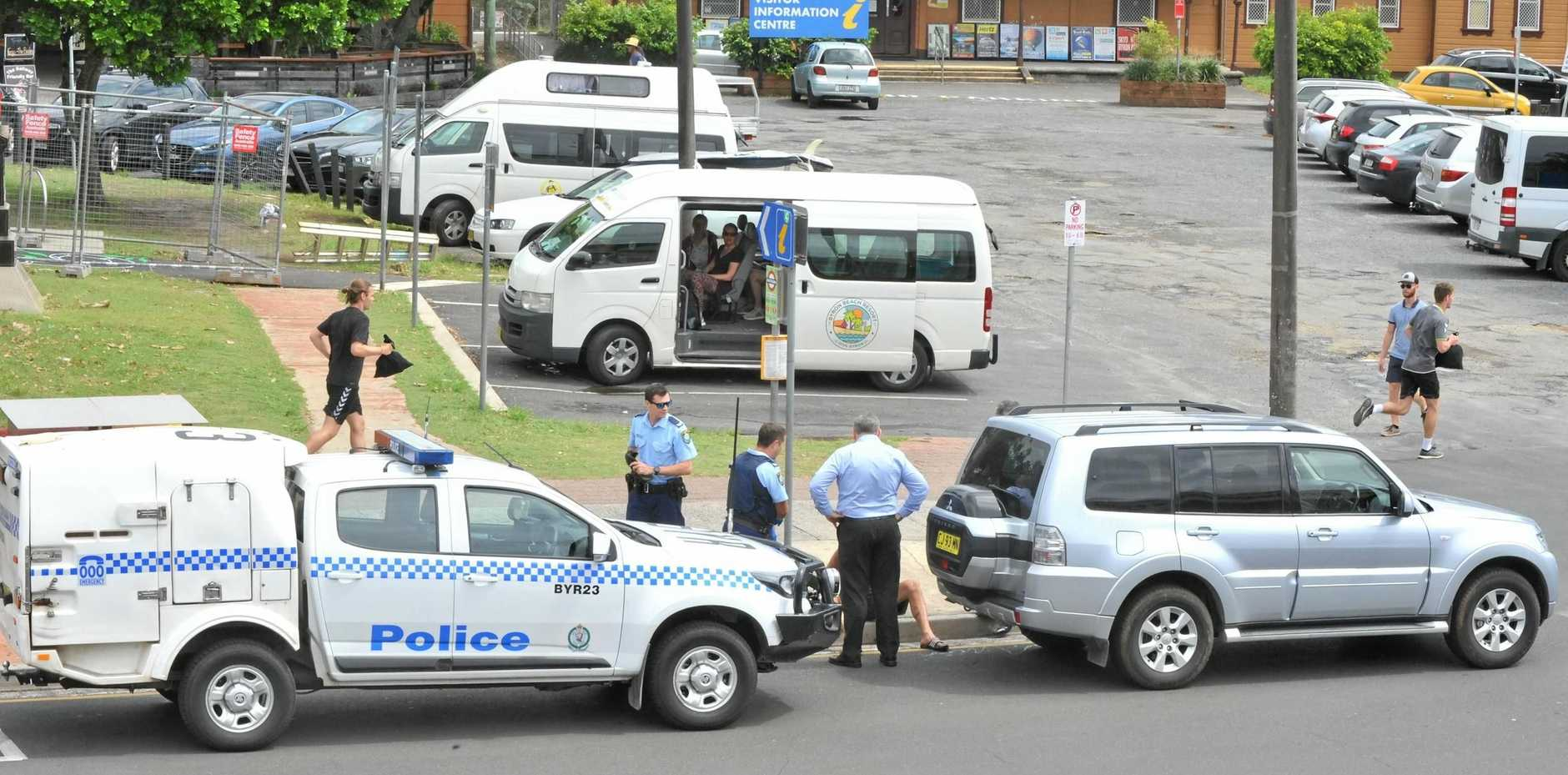 BYRON ARREST: Man arrested in Byron CBD. An axe was handed to police by witnesses.