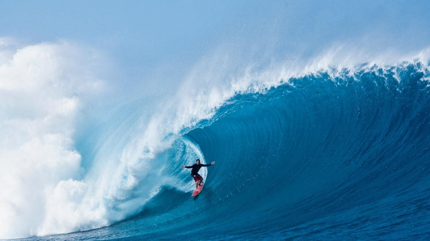 WORLD Surfaris' adviser David Scard in control on a Cloudbreak monster at Tavarua Island, Fiji.