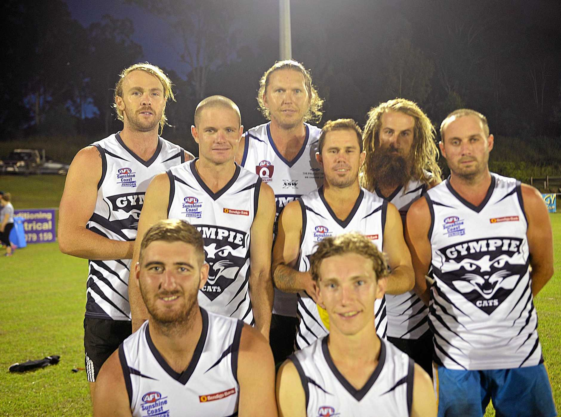 BIG PICTURE: Gympie Cats (back from left) Hayden Graham, Tim Ellingsen, Courtney Findlay, Scott Stiefier, Lanze Magin, Beau Ridgway, (front) Jesse Lawrence and Jack Cross are focused on the future of the club.