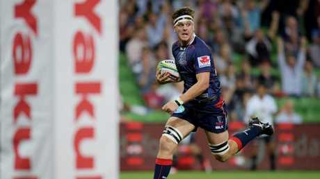 Ross Haylett-Petty scores the Rebels fifth try against the Sharks.