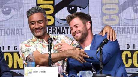 Taika Waititi and Chris Hemsworth during Comic-Con International 2017.