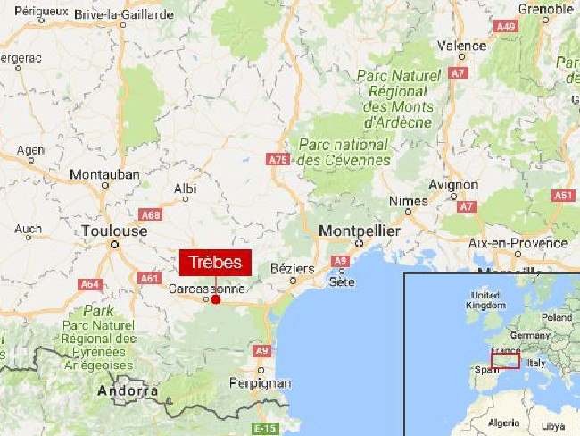 Trebes is in the south of France.  Picture:  GoogleMaps