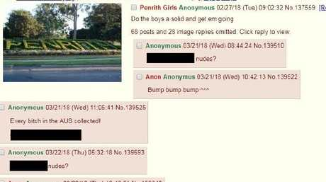 Anonymous users asking for pictures of girls from Penrith. Picture: Screenshot AussieSluts