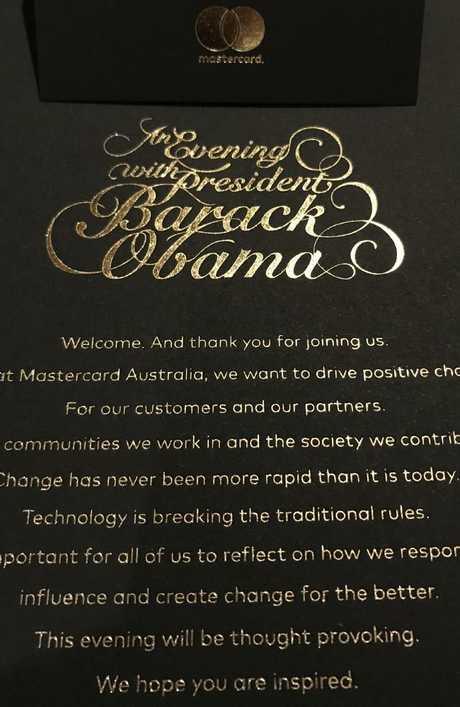 The exclusive invitation for the private Obama talk.