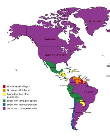 This map reveals what LGBTI travellers should know about the countries they are visiting. Picture: Travel Insurance Direct/Forktip