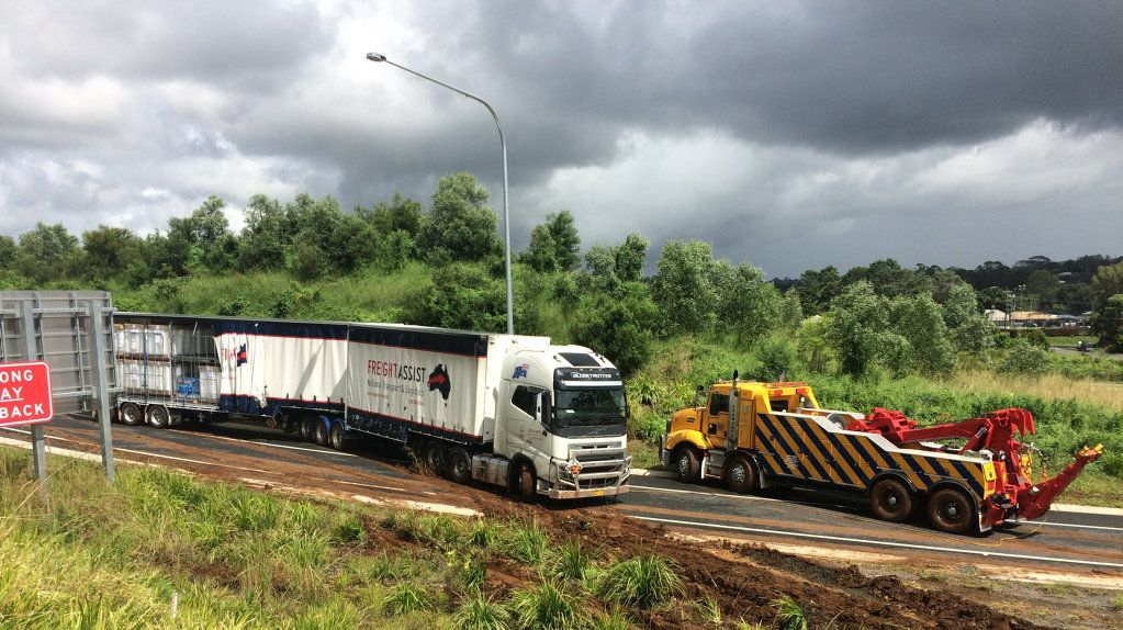 A TRUCK has crashed on the northbound off-ramp of the Pacific Highway near Bangalow this morning