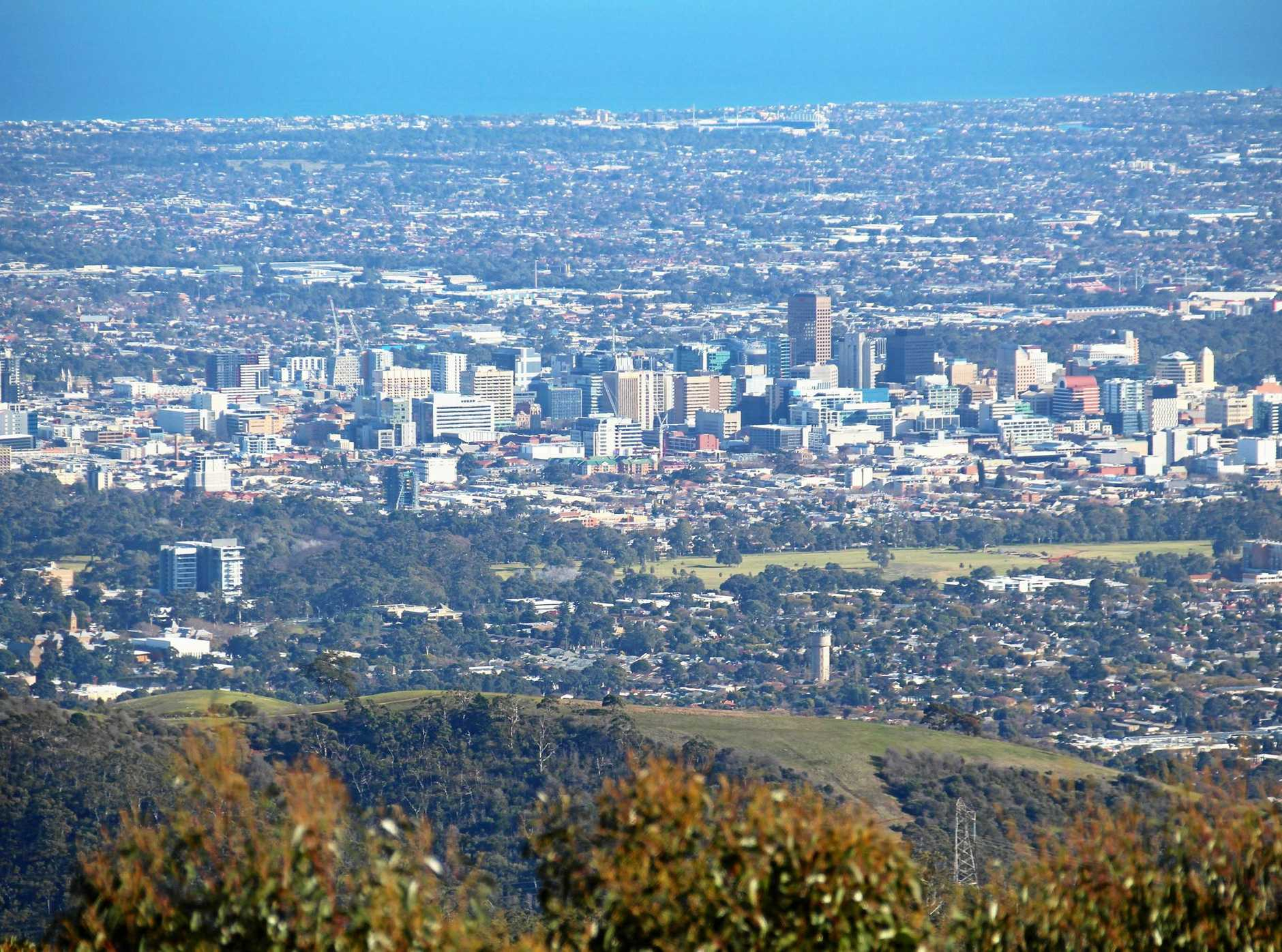 The view of the Adelaide skyline from Mt Lofty Summit, Adelaide Hills.