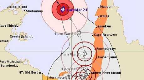 Cyclone Nora is intensifying as it heads toward the coast of Queensland's Gulf of Carpentaria.