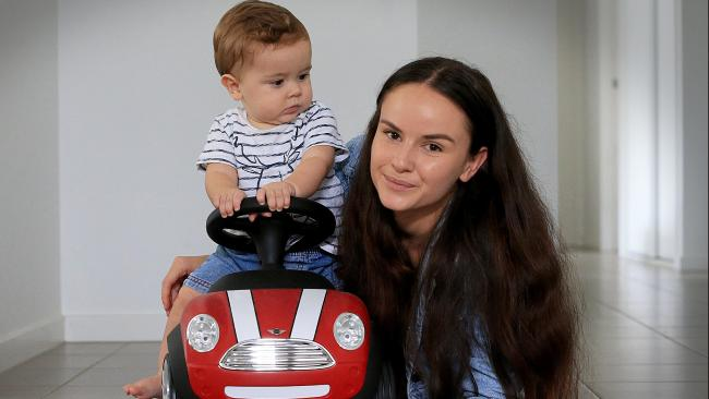 Aileen McHenry-Allen with her baby, Elliott Gladman. She says she experienced pregnancy discrimination. Picture: Jamie Hanson