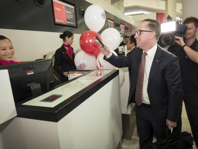 Qantas CEO Alan Joyce arrives at the check-in counter at Perth Airport for the first direct flight to Heathrow airport. Picture: AAP