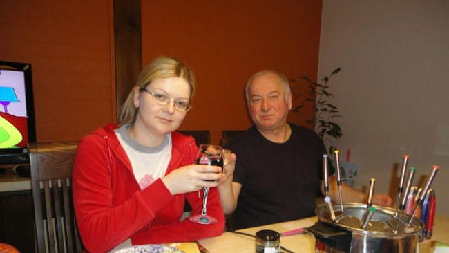 Ex-Russian spy Sergei Skripal, 66, and his daughter Yulia, 33, pose for a picture at a fondue restaurant. Picture: Supplied