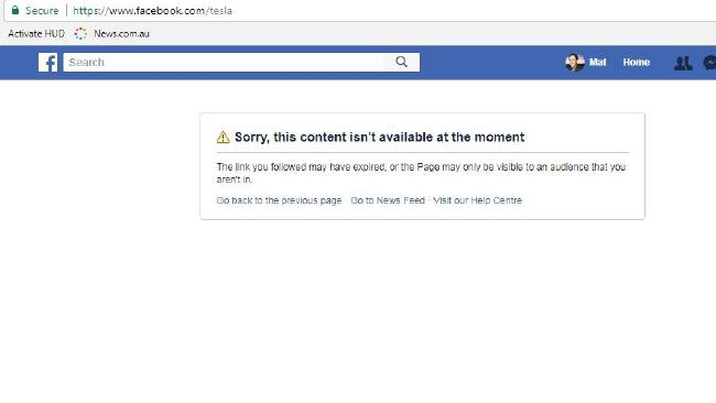 Elon Musk then deleted Tesla's Facebook page.  Picture:  Facebook