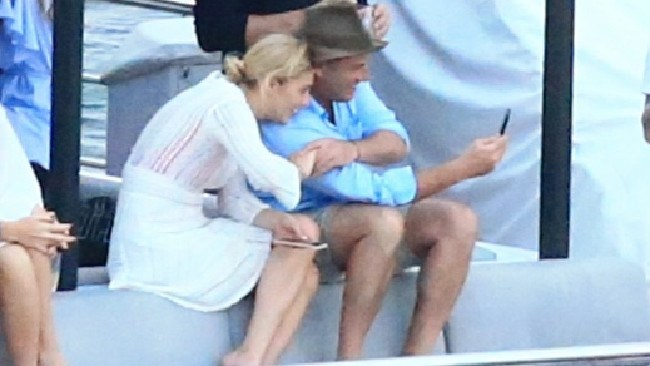 Karl Stefanovic with girlfriend Jasmine Yarbrough on Sydney Harbour. Picture: Adam Taylor.
