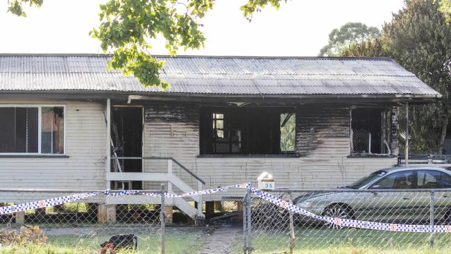 The house in Kingaroy St where a father and two children perished. Picture: Lachie Millard