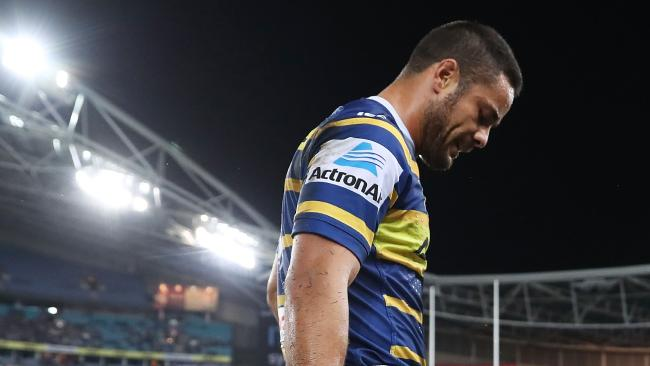 SYDNEY, AUSTRALIA — MARCH 24: Jarryd Hayne of the Eels walks from the field injured during the round three NRL match between the Parramatta Eels and the Cronulla Sharks at ANZ Stadium on March 24, 2018 in Sydney, Australia. (Photo by Mark Metcalfe/Getty Images)