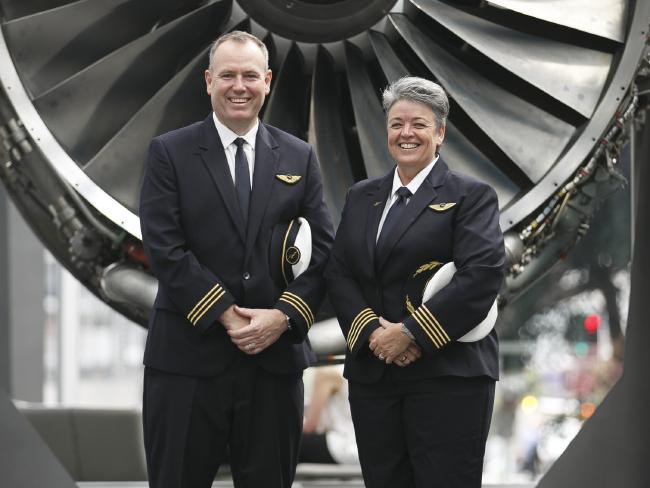 First pilots for the Qantas Dreamliner flight. Captain Lisa Norman First Officer David Summergreene will be piloting the flight. Photo: Tim Pascoe