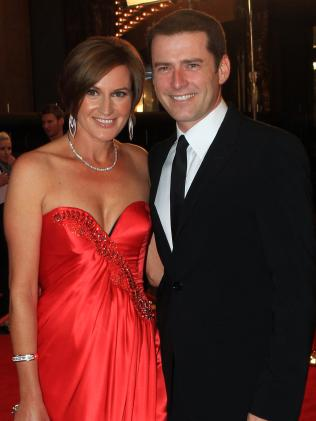 Karl Stefanovic with wife Cassandra Thorburn on the 2011 Logies red carpet.