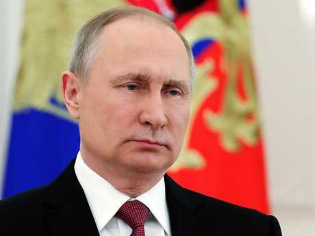 Russian President Vladimir Putin speaks during a live televised speech in Moscow. Picture: AP
