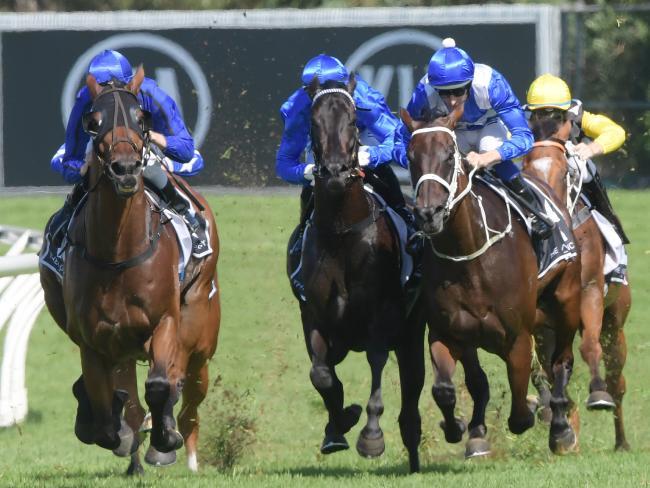 Hugh Bowman sends the champion mare to the front. Picture: Simon Bullard