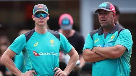 Steve Smith and coach Darren Lehmann.