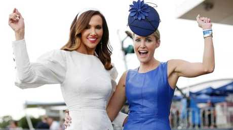 Kyly Clarke and Claire Hawkes celebrate at Rosehill. Picture: Christian Gilles