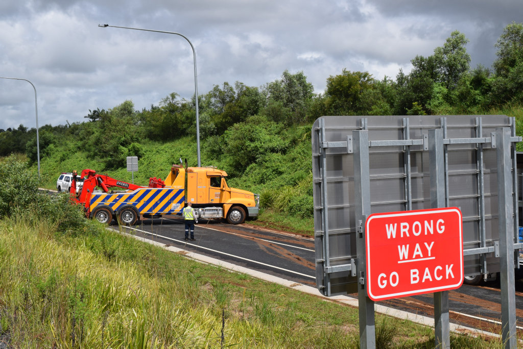 SLIP UP: A B-double came to grief when it exited the Pacific Highway northbound at Bangalow on Saturday morning. The clean-up took most of the day.