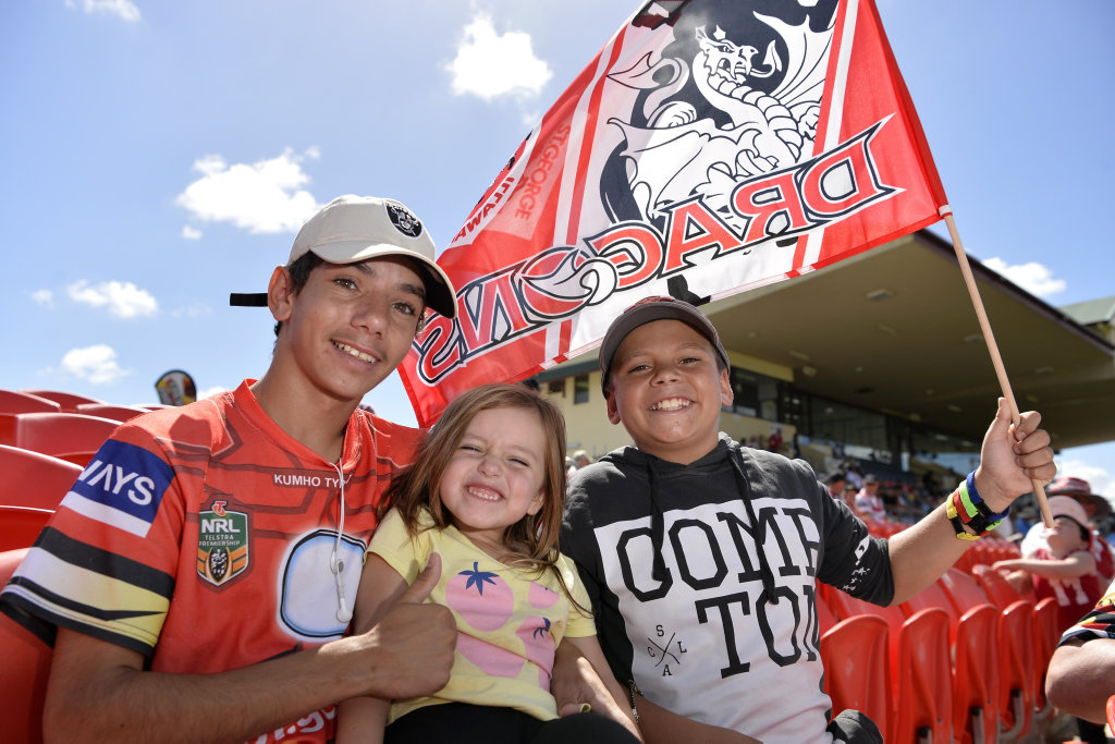 St George Illawarra Dragons fans (from left) Quincy Dennis, Abbie Sharpley and Anton Sharpley ready to watch Gold Coast Titans against the Dragons in NRL round 3 at Clive Berghofer Stadium, Sunday, March 25, 2018.