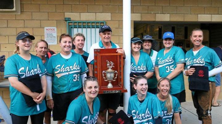MAJOR PREMIERS: Ballina Sharks after their comprehensive win over Rous Rangers in the Far North Coast Division 1 softball grand final.