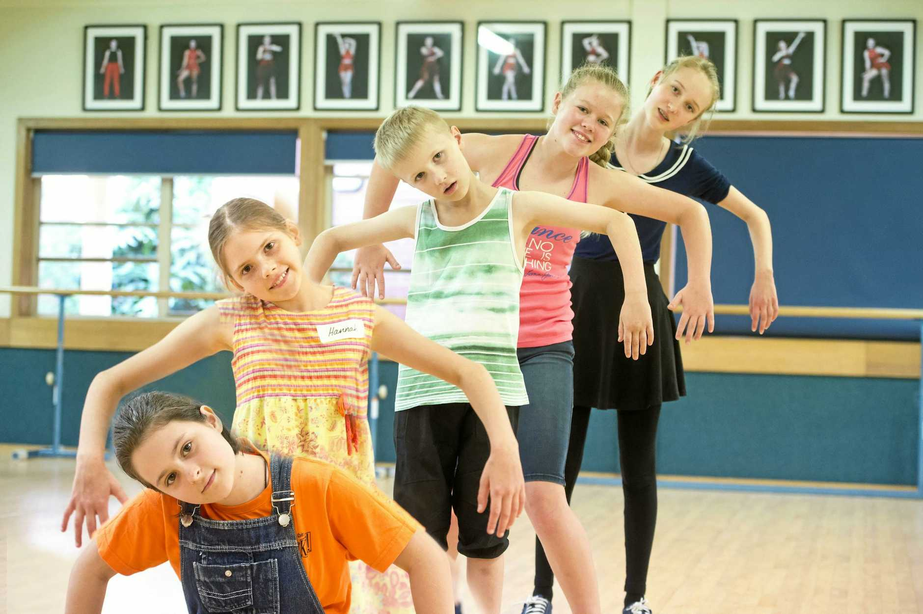 Learning the choreography are (from left) Clare Todd, Hannah Pocknee, Darcy Maegher, Ashlee Geoghegan and Eryn Stewart. Toowoomba Choral Society Youth Choir auditions for My Son Pinocchio: Gepetteos Musical Tale. Saturday, 24th Mar 2018.