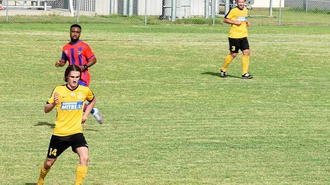 Wanderers striker Kobe Fuller. Football Queensland Premier League: Wide Bay Buccaneers v Sunshine Coast Wanderers at Hervey Bay Sports Club.