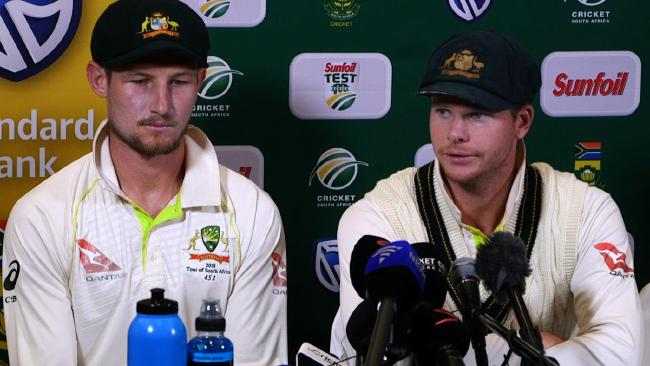 Steve Smith and Cameron Bancroft face the media after the ball tampering incident.