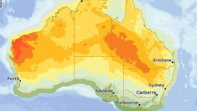 Temperature forecast for Good Friday shows below average highs in the south east. Picture: Bureau