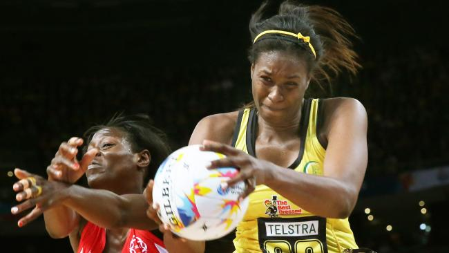 Romelda Aiken of Jamaica up against Sonia Mkoloma of England. Jamaica have emerged as a real danger team for the Games.