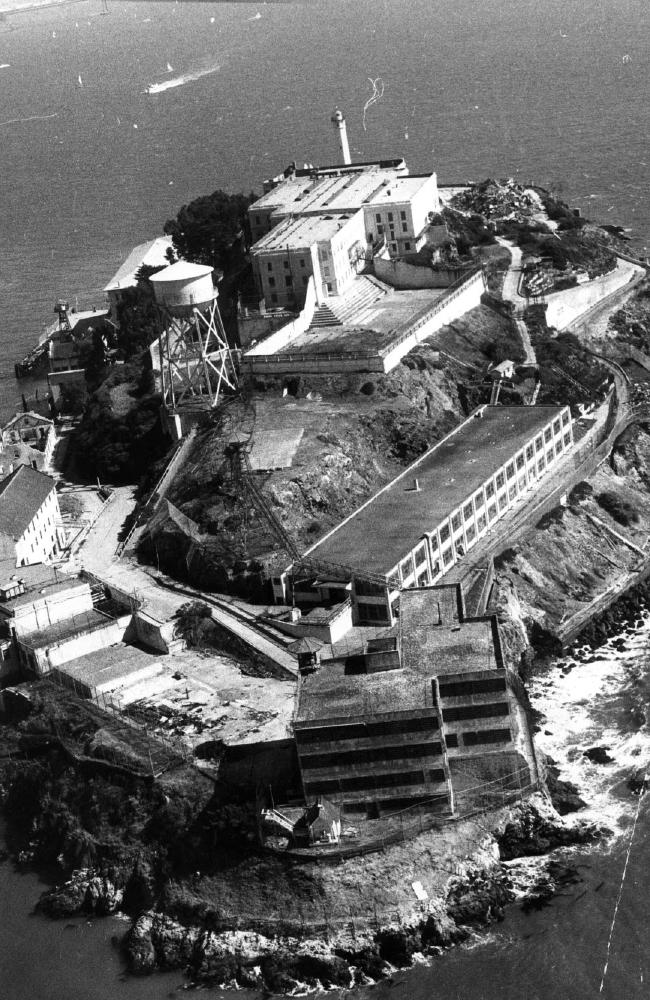 An aerial view of Alcatraz Island in San Francisco Bay in 1973. The famous prison was closed in 1963. Picture: Max Ross