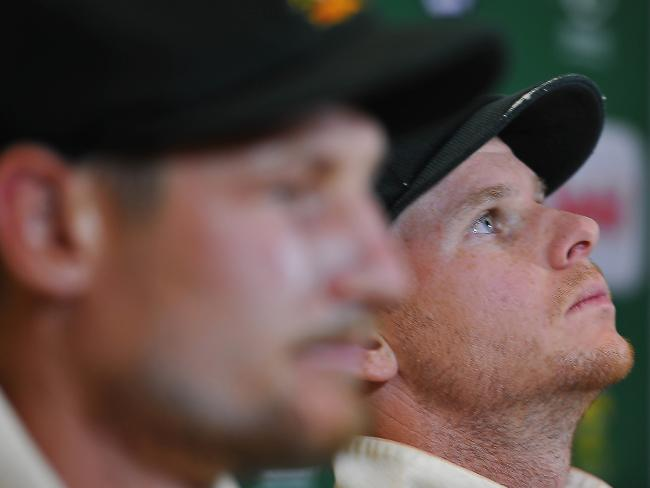 Steven Smith (right) with Cameron Bancroft.