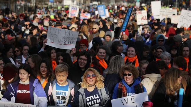 Protesters gather for the March for Our Lives rally along Pennsylvania Avenue in Washington, DC. Picture: Chip Somodevilla/Getty Images/AFP