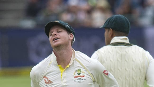 CAPE TOWN, SOUTH AFRICA - MARCH 24: A disappointed Steve Smith after dropping Aiden Markram of South Africa during day 3 of the 3rd Sunfoil Test match between South Africa and Australia at PPC Newlands on March 24, 2018 in Cape Town, South Africa. (Photo by Peter Heeger/Gallo Images/Getty Images)