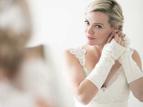 The bride gets ready for the big moment.