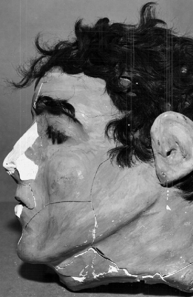 The dummy head found in Morris' cell. The broken nose resulted when the head rolled off the bed and struck the floor after a guard reached through the bars and pushed it. Picture: FBI